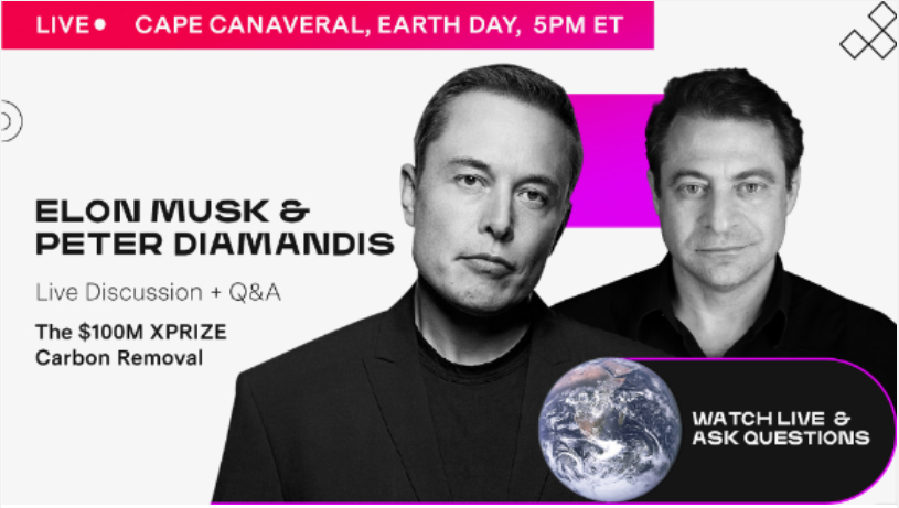 An image of Elon Musk and Peter Diamandis showing they will do a live talk and q&a on earth day.