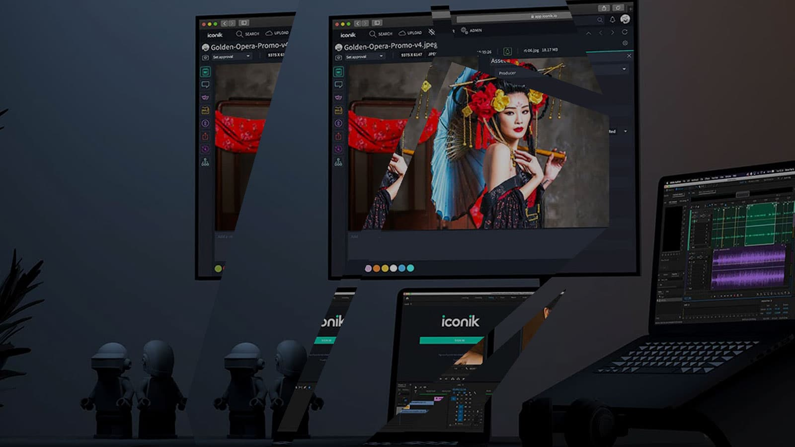 We see iconik editing software and sound edit happening across two screens. A woman in geisha clothing is on screen vibrant red and blues.