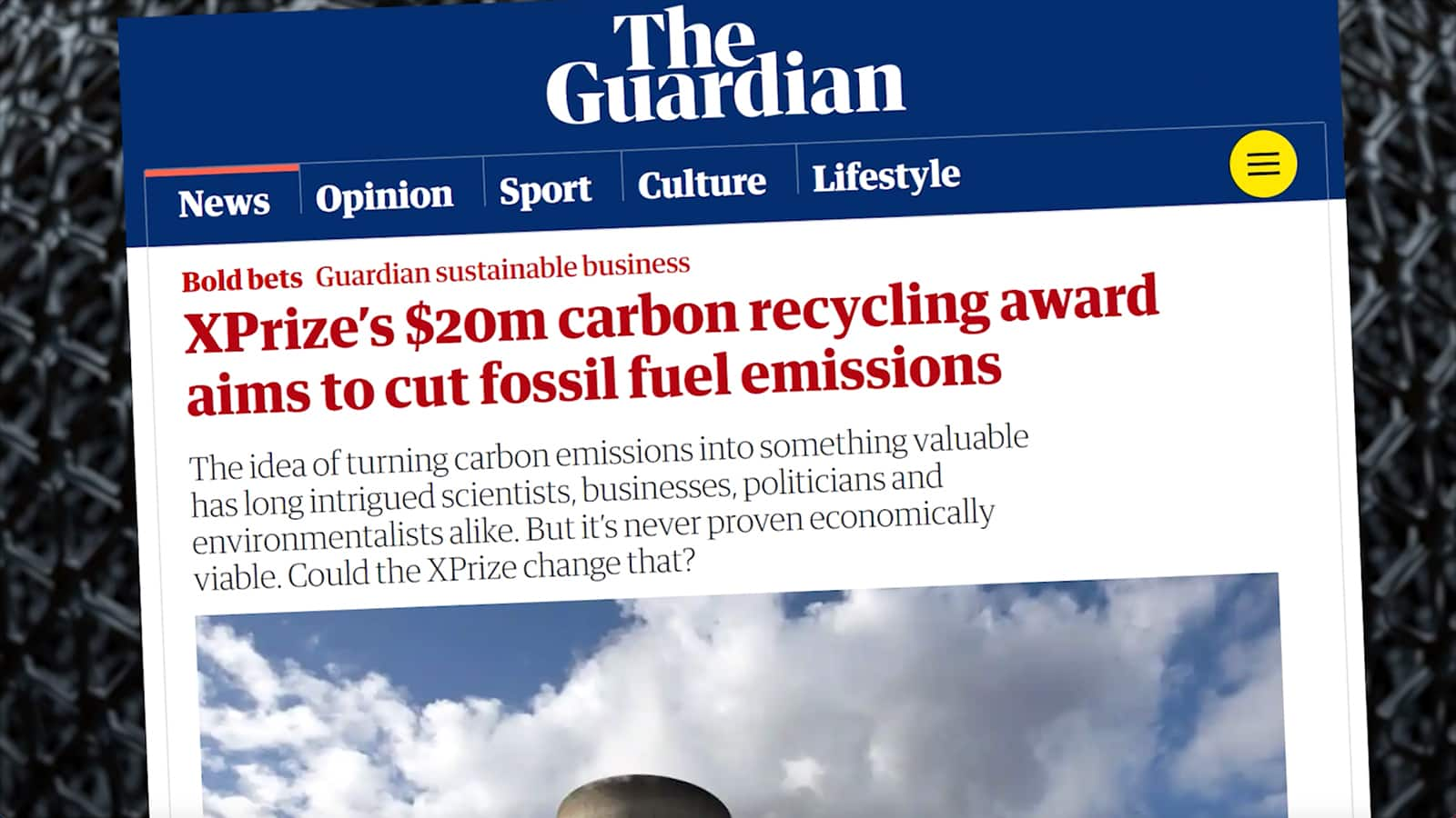 XPRIZE article on The Guardian website showcasing Green Rock's work in launching sustainability prize